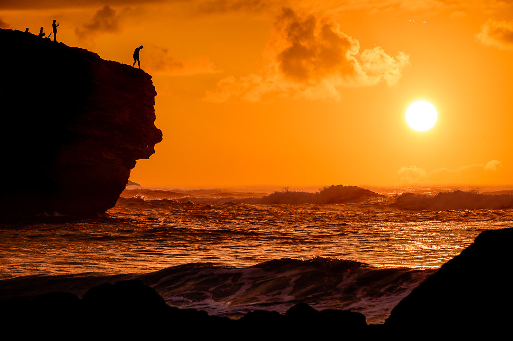 Sunrise and sea cliffs