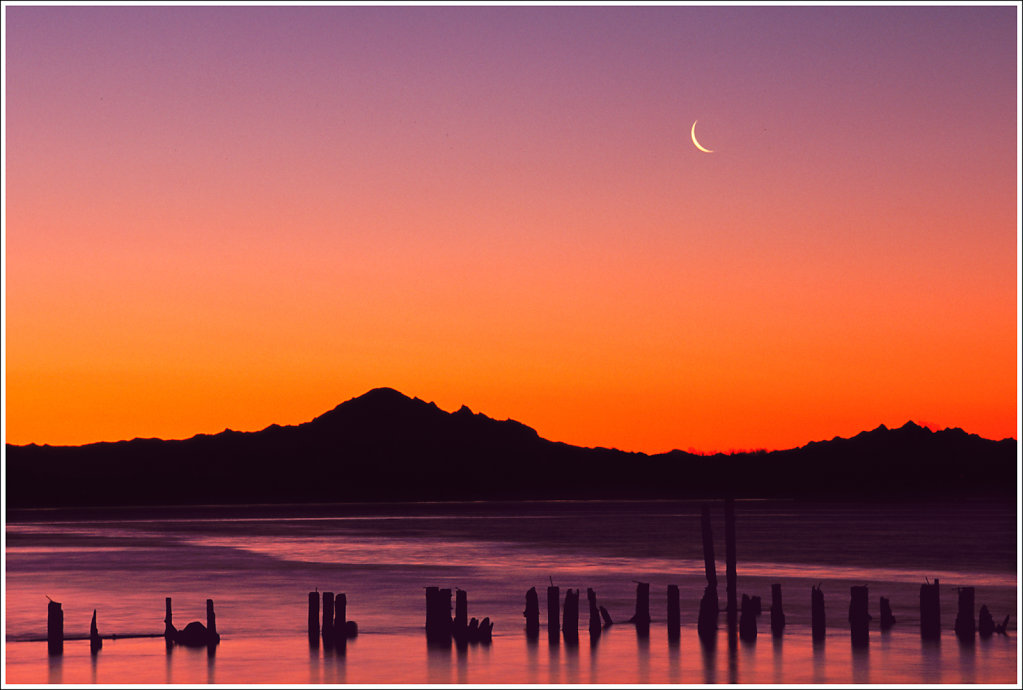 Fraser River Sunrise and Crescent Moon
